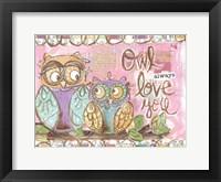 Framed Pastel Owl Family 5 Owl Always Love You