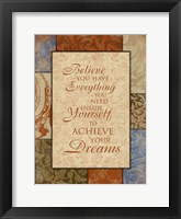 Framed Achieve Your Dreams