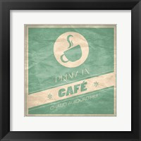 French Cafe - Teal Framed Print
