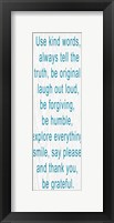Use Kind Words Blue Framed Print