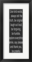 Use Kind Words White Framed Print