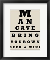 Framed Man Cave Chart