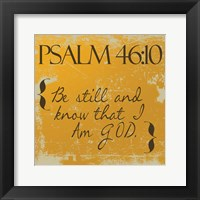 Psalms 46-10 Orange Framed Print