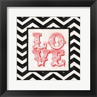 Chevron Love Red Framed Print
