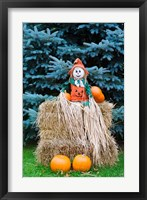 Framed Wisconsin Autumn haystack, Halloween decorations