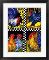 Framed Chicken Quartet