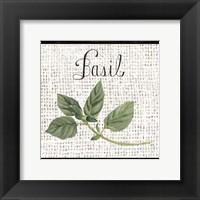 Burlap Herbs V Framed Print
