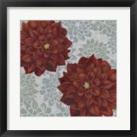 Woodblock Dahlias II Framed Print