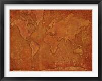 Framed World Map Rust 1