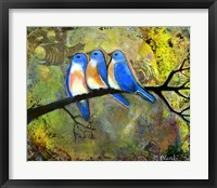 Framed Three Little Bluebirds