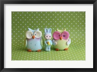 Framed Owls And Tiny Boy Bunny