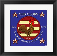Framed Rooster Old Glory