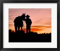 Framed Cowboy Sunset