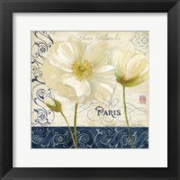 Paris Poppies Blue Trim I Framed Print