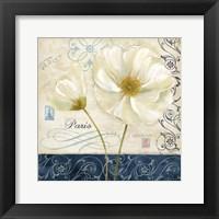Paris Poppies Blue Trim II Framed Print