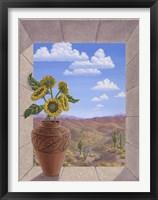 Framed Sunflowers in Zia Pot