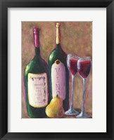 Framed Wine and Pear for Two