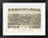 Framed Rutherford, NJ Vintage Map, 1904