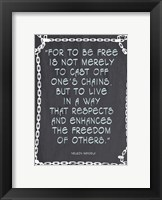Framed Freedom of Others - Nelson Mandela Quote