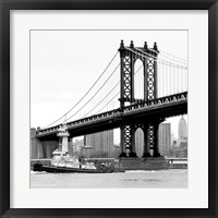 Framed Manhattan Bridge with Tug Boat (b/w)