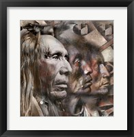 Framed Three Native American Faces