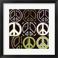 Peace Mantra (Green) Framed Print
