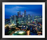 Framed Aerial View of Singapore at Night