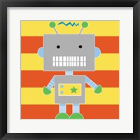 Robot - Stripes Framed Print
