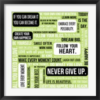 Never Give Up 4 Framed Print