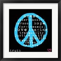 Peace Words Framed Print