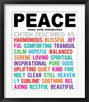 Peace Definition Framed Print