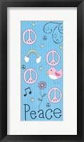 Peace Panel - Blue Framed Print