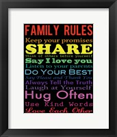 Family Rules 2 Framed Print