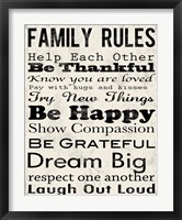 Family Rules 3 Framed Print