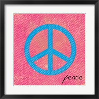 Peace Blue and Pink Framed Print
