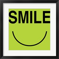 Smile - Green Framed Print