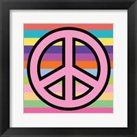 Framed Peace - Pink on Stripes