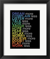 Rules to Live By 2 Framed Print