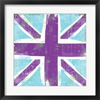 Union Jack Purple and Blue Framed Print