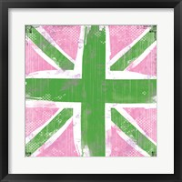 Union Jack Pink and Green Framed Print