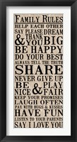Family Rules 7 Framed Print