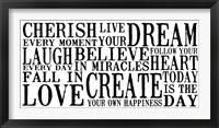 Cherish Live Dream 1 Framed Print