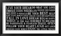 Live Your Dream 6 Framed Print