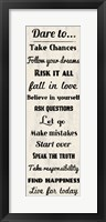 Dare to Take Chances 2 Framed Print