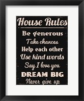 House Rules 2 Framed Print