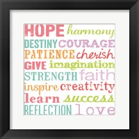 Hope Harmony Destiny Framed Print