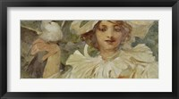Woman with Pigeon Framed Print
