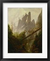 Framed Mountain Landscape (Felsenlandschaft im Elbsandsteingebirge), c 1822-1823