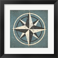 Framed Nautical Compass Blue