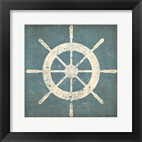 Nautical Shipwheel Blue Framed Print